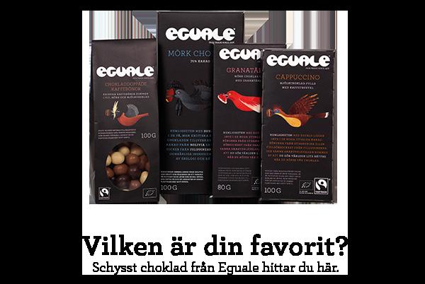 Fairtrade-märkt och ekologisk choklad från Eguale.
