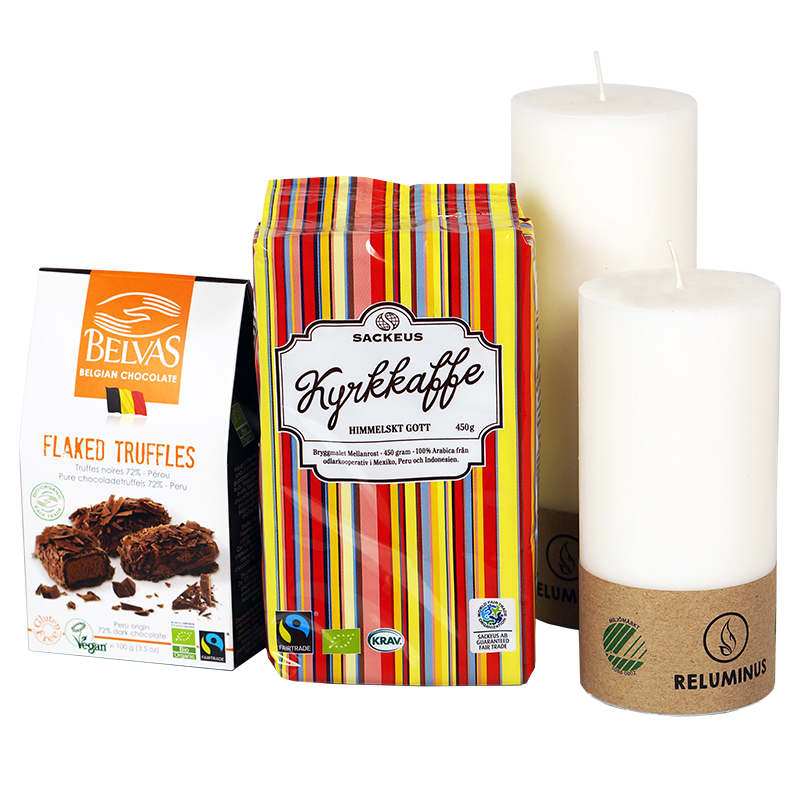 Julgåva_Tänd ett ljus_kaffe, ljus och chokladtryfflar