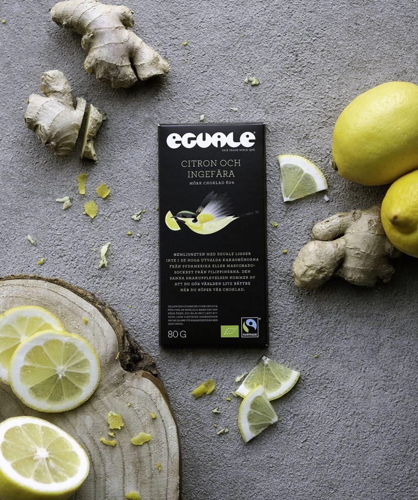 Eguale Fairtrade och ekologiskt choklad- Citron och ingefära