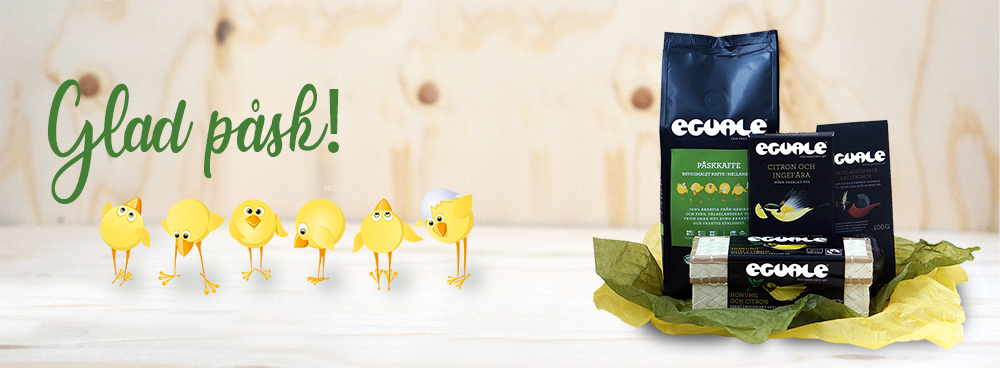 Påskgåvor med fairtrade-märkt och ekologiskt kaffe, te och andra godsaker